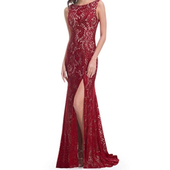 36391e500775 Macy's Dresses | Nwt Lace High Slit Open Back Evening Gown | Poshmark